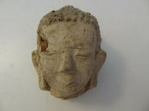 ANTIQUE MONGOLIAN BUDDHIST HAND MADE CLAY STATUE FRAGMENT BUDDHA HEAD #3
