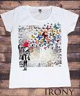 Banksy Headshot Papillon Mur Imprimé Femmes %100 Coton Neuf T-shirt Haut S/m/l