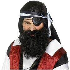 Buccaneer Pirate Curly Beard Black Brown Grey Adults Fancy Dress Costume Accesso