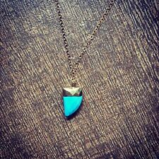 Gold Turquoise Triangle tooth shape pendant Necklace/14K Gold-filled chain.