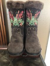 Ed Hardy Size 8 Dark Brown Suede Fish With  Faux Fur Lined Mid-Calf Boots