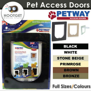 [3 Sizes/ 6 Colours] PETWAY Pet Cat Puppy Dog Door for Security Door and Screen