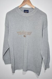 THE SWEATER SHOP VINTAGE 90's Jumper Pullover Mens SMALL Blue Grey Tight Knit