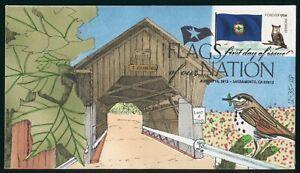 MayfairStamps US FDC Unsealed 2012 Vermont Flag Covered Bridge Symbol Frans & Li