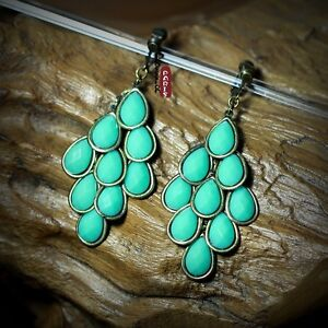 Earrings Clips Chandelier Green Retro Style Original Marriage Gift E4