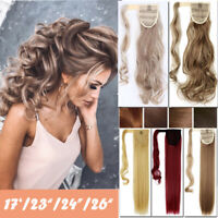 US Post Real Clip In Like human Hair Extension Pony Tail Wrap Around Ponytail J3