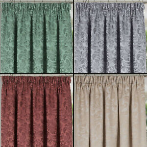 Damask Design Quality Lined Door Curtain With Tape Top Header In 7 Colours