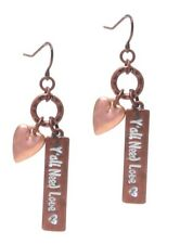 Y'all Need Love Earrings Hearts Copper colored