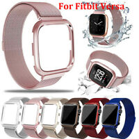 For Fitbit Versa Watch Strap Magnetic Loop Stainless Steel Band w/ metal frame