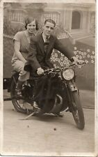 More details for postcard coventry eagle british motorcycle motorbike 1950's man & woman rppc
