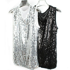 Men Sequins Tank Tops Camisole Vest Bling Glitter Shiny Punk Sleeveless T Shirt