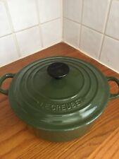 Genuine Le Creuset Cast Iron Green 20cm Round Casserole Dish Pot Pan With Lid