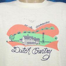 vintage 80s DUTCH COUNTRY CARTOON PAPER THIN T-Shirt LARGE pennsylvania amish
