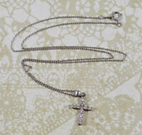 Sterling Rhinestone Cross Crucifix Pendant on 925 Silver Chain