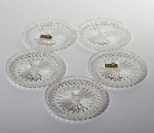 5 Bleikristall Glas Untersetzer hochglänzend poliert sternförmig KH 60er Jahre