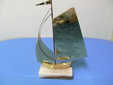 Vintage Brass Sailboat With Marble Base