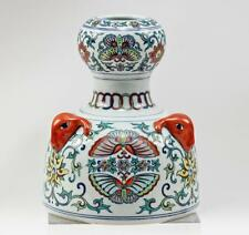 Superb Chinese Butterfly Porcelain Doucai Ram Head Cheulung Mark Vase