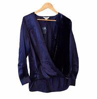 Sundance Navy Blended Paths Flowy Wrap Silk and Velvet Blouse Size Medium NWOT