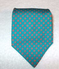 Men's  pre- Owned silk Neck Tie,Green with small red white circles by Alessio