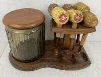 DECANTER INDUSTRIES Vintage Tobacco Holding Jar Wood Stand Corncob Smoking Pipes