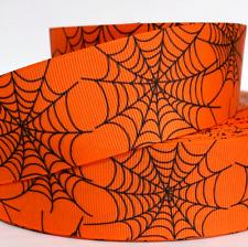 """Grosgrain Ribbon 5/8"""", 7/8"""", 1.5"""", 3"""" Halloween Spider Webs Printed"""