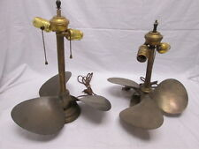 Pair (2) of Brass Boat Propeller Table Lamps Double Sockets on Each 2 Styles