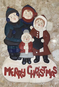 "VTG wood carved Christmas carolers Family Merry Christmas Wall Hanging 16x10"""