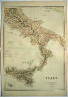 Original 1882 Map of Southern Italy by Blackie & Son. Sicily. Antique