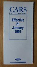 FORD RANGE orig 1991 UK Mkt Prices Brochure - Fiesta Escort Sierra Scorpio Grana