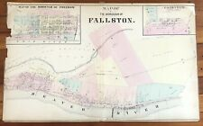 RARE 1873 color STREET MAP of BOROUGH of FALLSTON Pennsylvania BEAVER RIVER