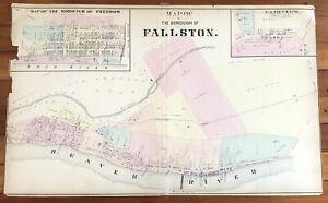 RARE 1873 color STREET MAP of BOROUGH of FALLSTON Pennsylvania BEAVER RIVER