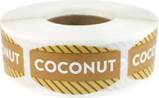 Coconut Grocery Market Stickers, 0.75 x 1.375 Inches, 500 Labels on a Roll