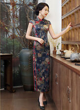 Luxurious Mid Night Blue Chinese Flowers Long Dress Cheongsam Qipao lcdress32