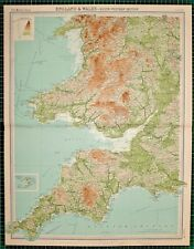 1921 LARGE MAP ~ ENGLAND & WALES SOUTH WESTERN CORNWALL CARMARTHEN CARDIGAN