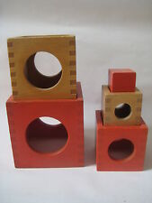 vtg Mid Century Creative Playthings STACKING BLOCKS child wooden toy set Finland