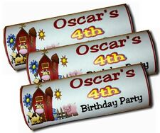 Personalised Wrappers Chocolate Bars Birthday Favours x 12 FARM YARD PARTY