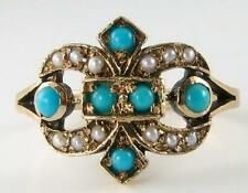 UNUSUAL 9K 9CT GOLD PERSIAN TURQUOISE & SEED  PEARL CREST RING FREE RESIZE