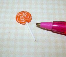 "Miniature ""Lola Originals"" ALL-DAY Sucker, Lollipop ORANGE: DOLLHOUSE 1:12 Scale"
