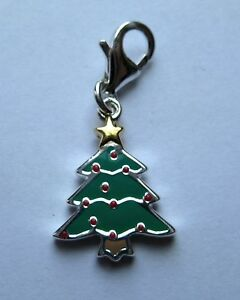 Sterling Silver Clip-on Enamelled Christmas Tree Charm