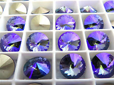 6 Tanzanite Glacier Blue Foiled Swarovski Rivoli Stone 1122 12mm
