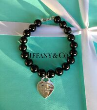 Authentic Genuine Tiffany & Co Black Onyx RTT Heart Tag Bracelet 17.5cm