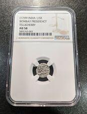 1799 AU58 India Bombay Presidency Silver 1/5 Rupee Tellicherry NGC East India
