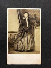 Victorian Carte De Visite CDV: Grand Lady: Fan Poka-Dot Dress: Late Mrs WALKER