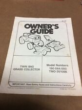 MTD 190-064-000 Twin Bag Grass Collector Owners Guide