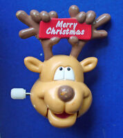 Russ PIN Christmas Vintage WIND UP REINDEER Action Movement Holiday Brooch
