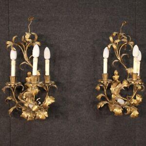 Coppia di applique metallo dorato da parete stile antico 4 luci fiori anni 60