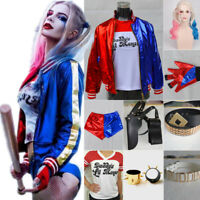 Halloween Costume Suicide Squad Harley Quinn T-shirt Coat Jacket Full Set kids
