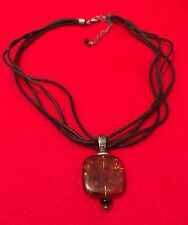 SILPADA Sterling Amber Pendant on Black Leather Onyx Bead Necklace - FREE SHIP