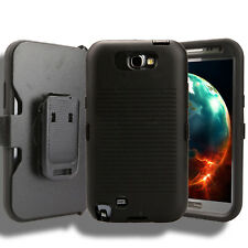 For Samsung Galaxy Note 2 Case (Belt Clip Fits Otterbox Defender) Holster Black