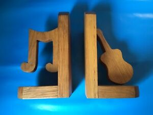 2 X VINTAGE WOODEN MUSIC THEME BOOK ENDS